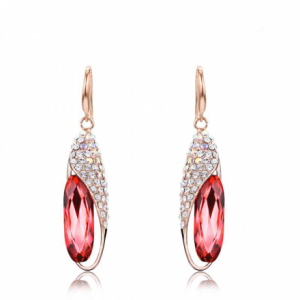 SWAROVSKI EARRINGS SEED SHAPED - PINK GOLD COLOR
