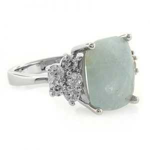AQUAMARINE .925 STERLING SILVER RING