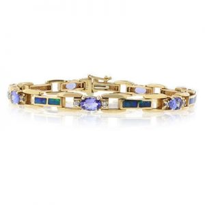 BEST ONLINE GENUINE TANZANITE AND AUSTRALIAN OPAL SOLID GOLD BRACELET